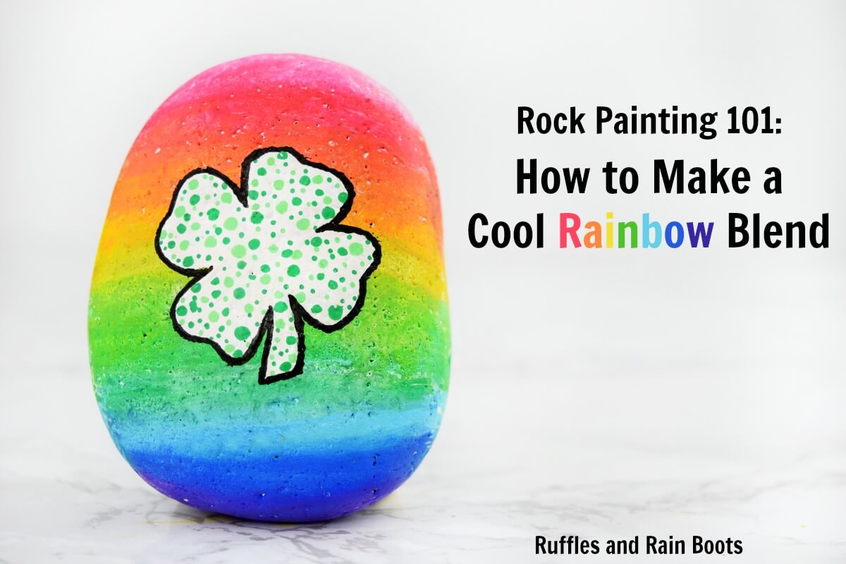 Learn how to blend paint pens in this fun, quick, and easy rock painting tutorial. #rufflesandrainboots #rockpainting #rainbow