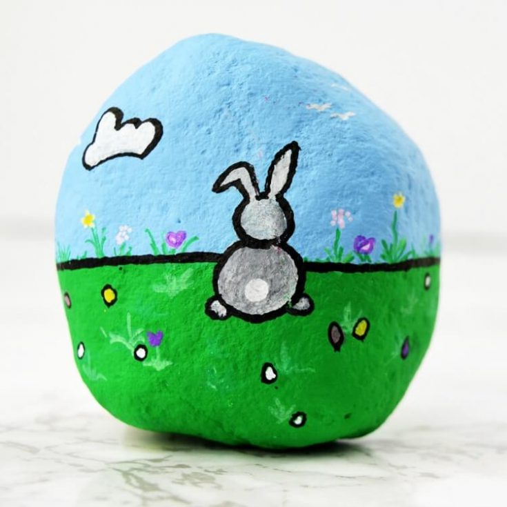 Rock Painting Bunny for Easter Kids and Adults