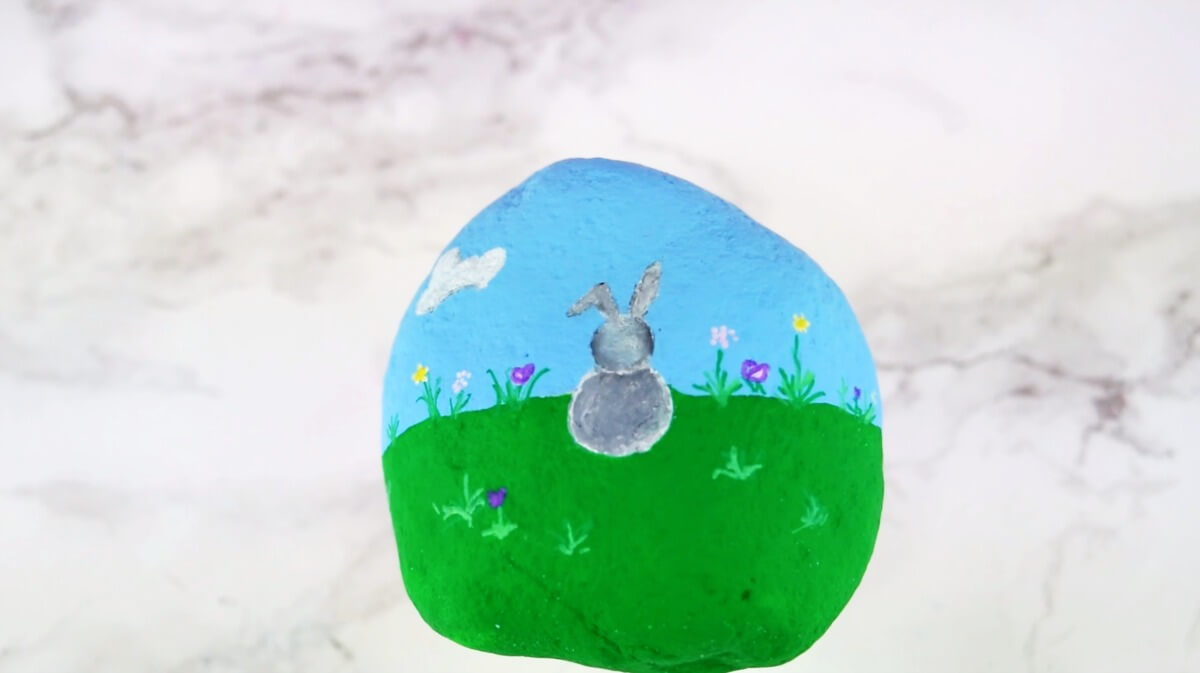 Easter bunny rabbit rock painting idea