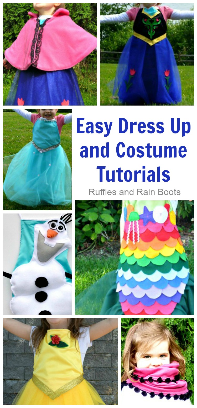 Look at all of these easy dress up and costume tutorials! There are even NO-SEW options - so excited. #dressup #costumes #rufflesandrainboots