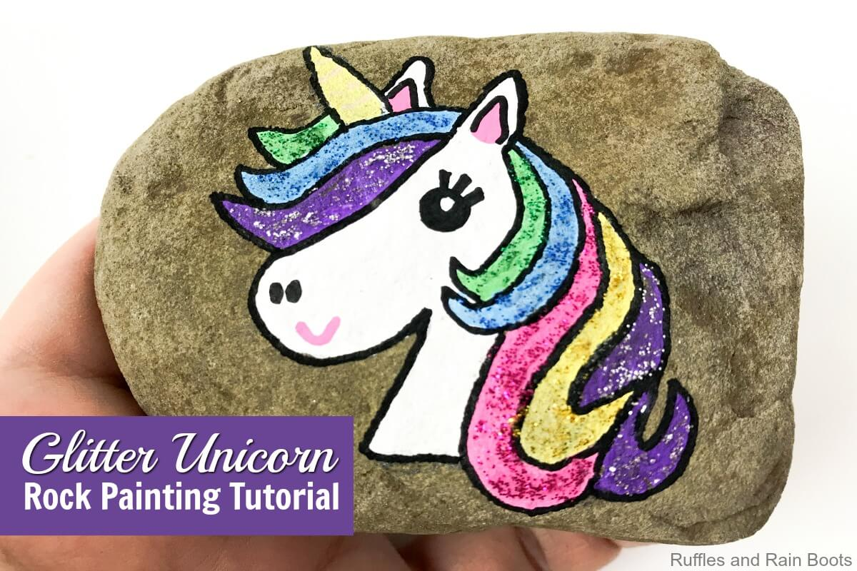 Simple Rock Painting idea for unicorn glitter rock for kids