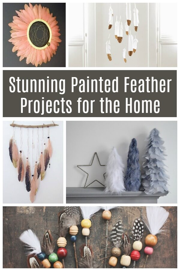 Look at these stunning painted feather projects for the home - amazing natural trend elements inside! And a few are ridiculously easy! #feather #decor #diydecor #paintedfeather #featherpainting #natural #rufflesandrainboots