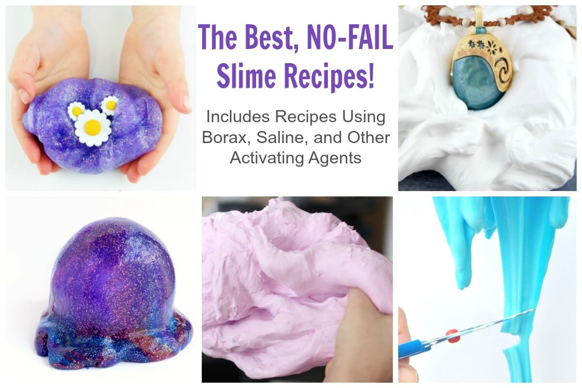 Make these no fail slime recipes using borax, liquid starch, or contact lens solution