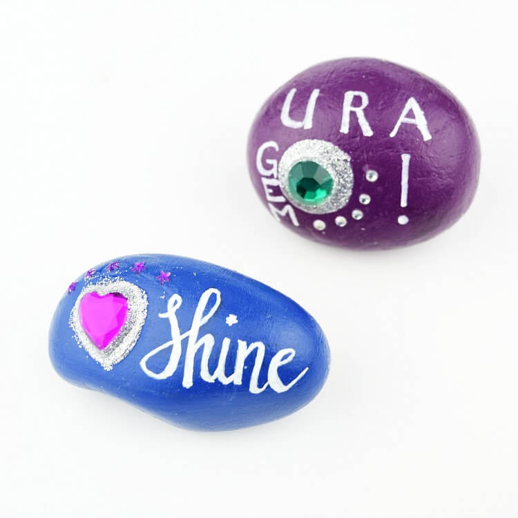 Painted Rocks With Gems Rock Painting Ideas For Kids