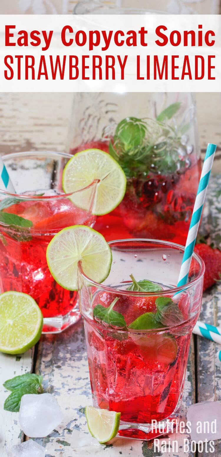 Make this amazing and easy copycat Sonic Strawberry Limeade to quench your thirst on a hot day. #strawberry #strawberrylimeade #sonic #copycatrecipes #summerdrinks #partydrinks #strawberrymojito #rufflesandrainboots
