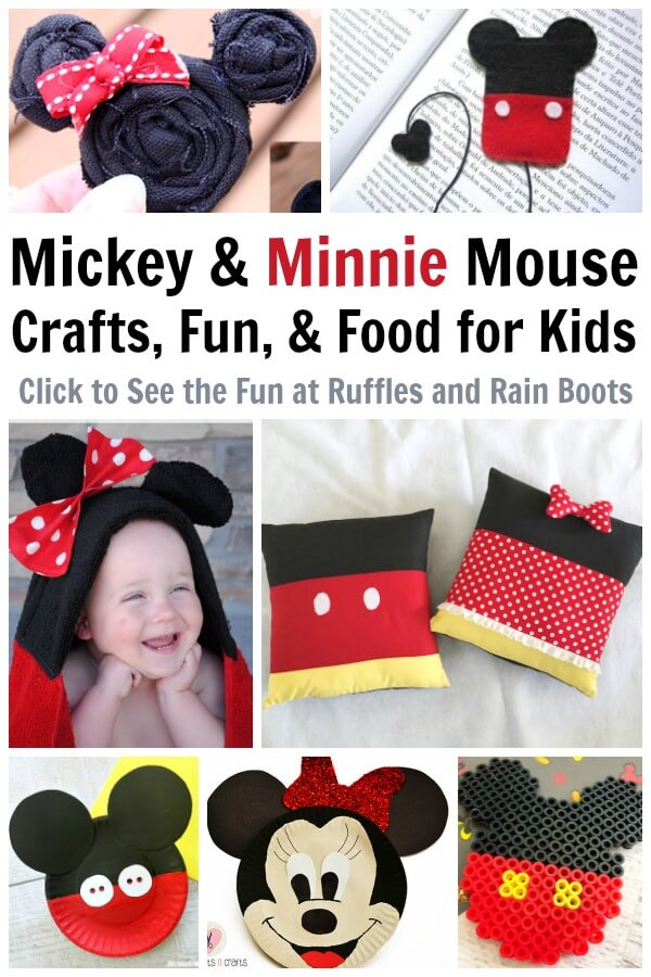 Make these fun Mickey Mouse crafts for any birthday party, playdate, or movie night. Minnie Mouse crafts are included, too, and so is some of the most amazing (and doable) Mickey Mouse food. #MickeyMouse #MickeyMouseCrafts #Mickeycrafts #Disney #Disneycrafts #craftsforkids #mickeybirthday #rufflesandrainboots