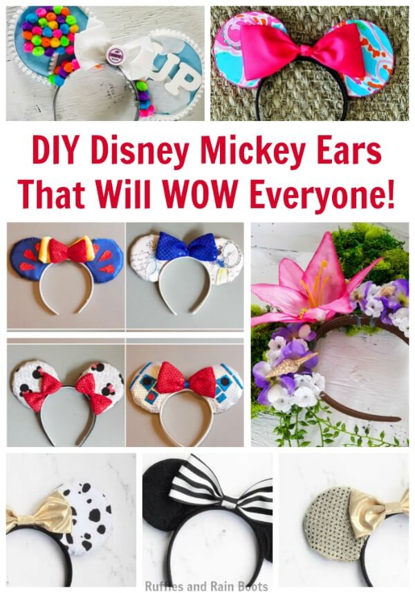 DIY Disney Mickey Ears are Disney mouse ears you make yourself. These fun ideas and tutorials will save you money and let you craft your vision! #Disney #disneycrafts #disneymickey #mickeymouse #mouseears #diymouseears #rufflesandrainboots
