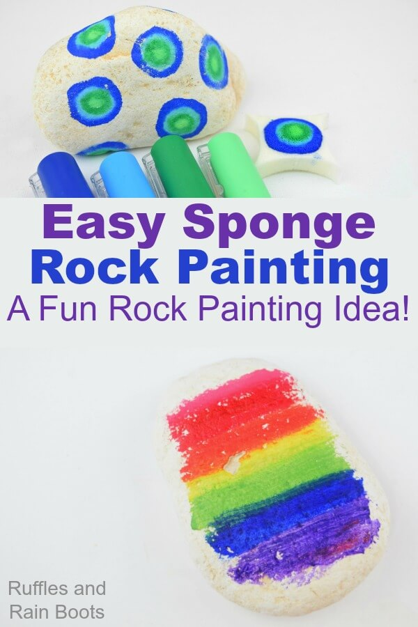 This easy sponge rock painting idea is quick to set up and surprisingly NOT messy! #rockpainting #rockpaintingideas #rockpaintingforbeginners #paintedpebbles #paintedstones #rockart #stoneart #howtopaintrocks #rufflesandrainboots