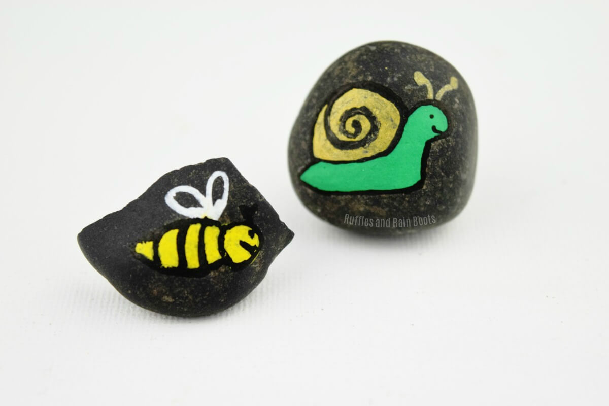 bee rock painting snail painted rock
