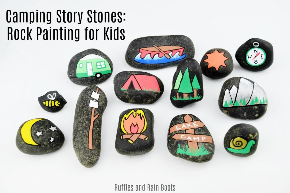 Camping story stones for campfire games and rainy camping days