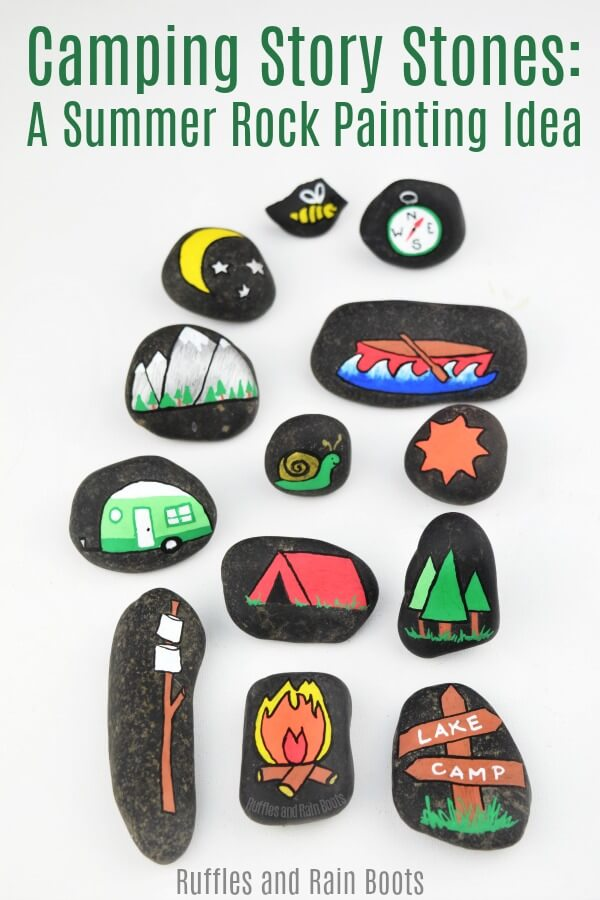 Camping story stones are a great rock painting idea for beginners or kids. There are two ways to make them and one doesn't involve any drawing skills! #rockpainting #camping #campingactivity #campfiregames #storytelling #montessori #campfirestories #storystones #rockpainting101 #rockpaintingforkids #painting