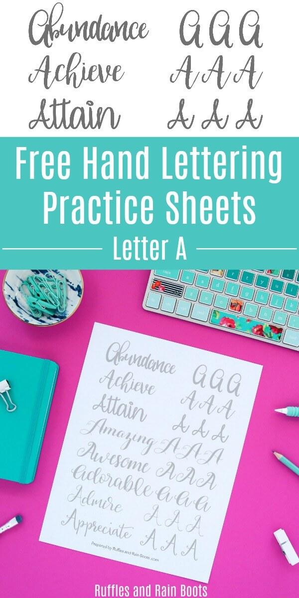 Get this free letter A calligraphy practice, featuring modern calligraphy, bounce lettering, and brush lettering styles! #handlettering #calligraphy #moderncalligraphy #bouncelettering #practicesheets #rufflesandrainboots