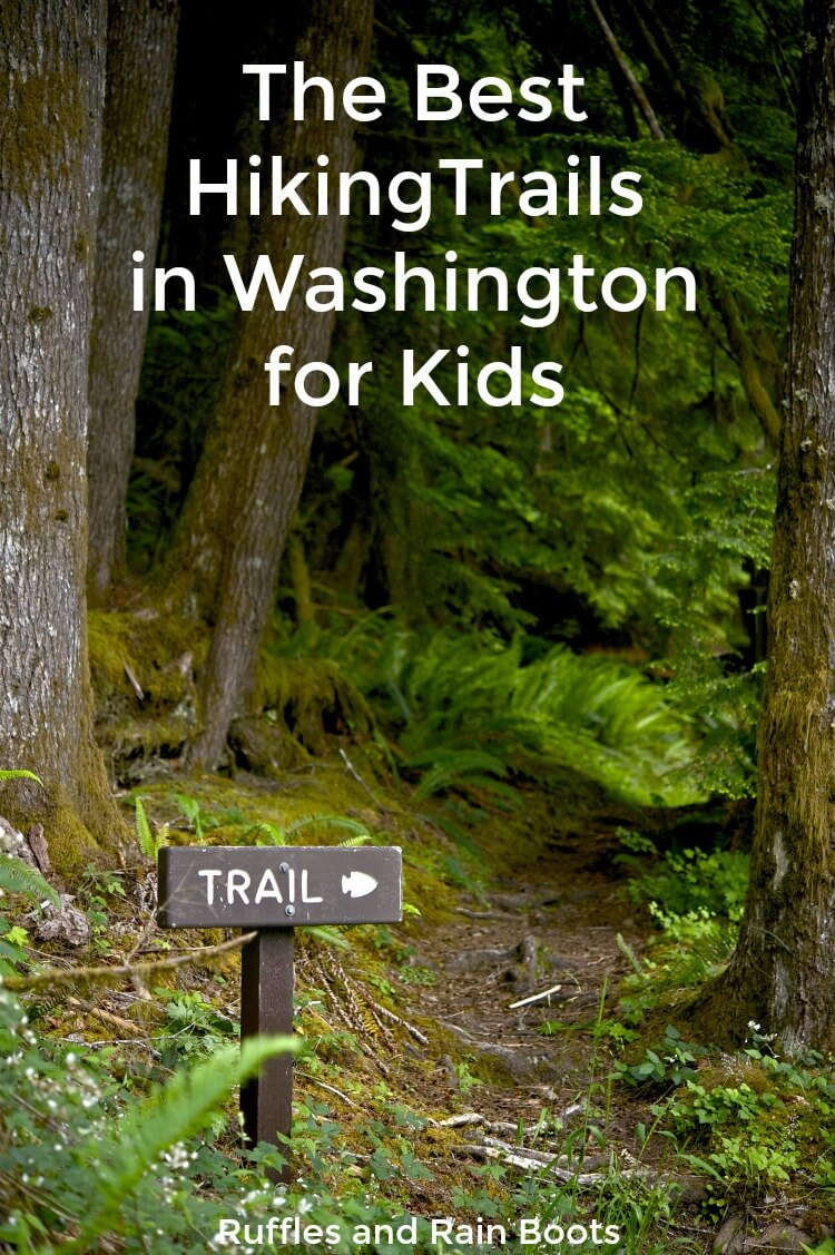 These are the best hiking trails in Washington for kids and families. Beautiful scenery, easy hikes, and areas kids love are a few of the highlights. #hiking #camping #Washington #WashingtonState #hikingwithkids #trailhikes #summer #summervacation #rufflesandrainboots