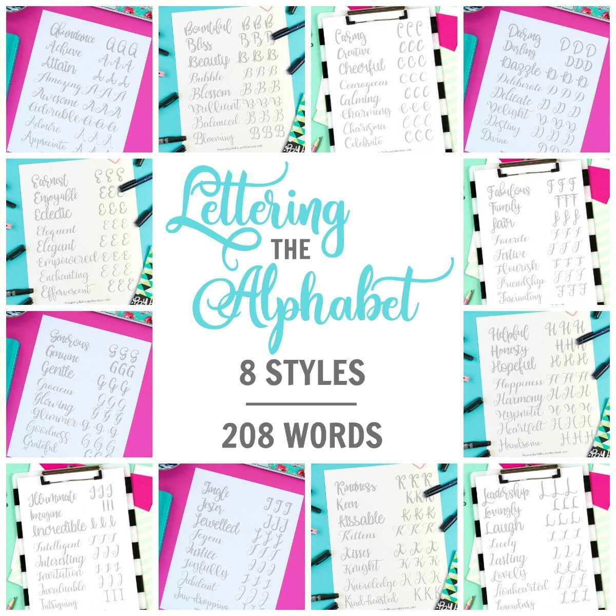 Alphabet Hand Lettering Calligraphy Practice Sheets