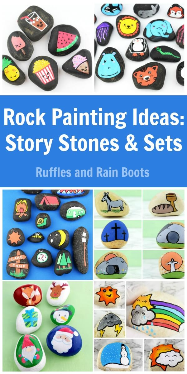 These rock painting ideas for story stones and sets will bring ALL the smiles. From animals to Easter, get inspired. #rockpainting #paintedstones #paintedpebbles #rockart #painting #storystones #montessori #rufflesandrainboots