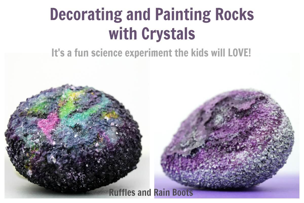 Making Crystal Covered Rocks is a fun rock painting idea