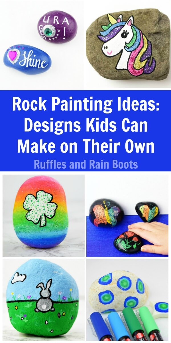 We are sharing these rock painting ideas for kids that they can actually make on their own. #rockpainting #rockpainting101 #kidscrafts #craftsforkids #paintedpebbles #paintedstones #rockart #rufflesandrainboots