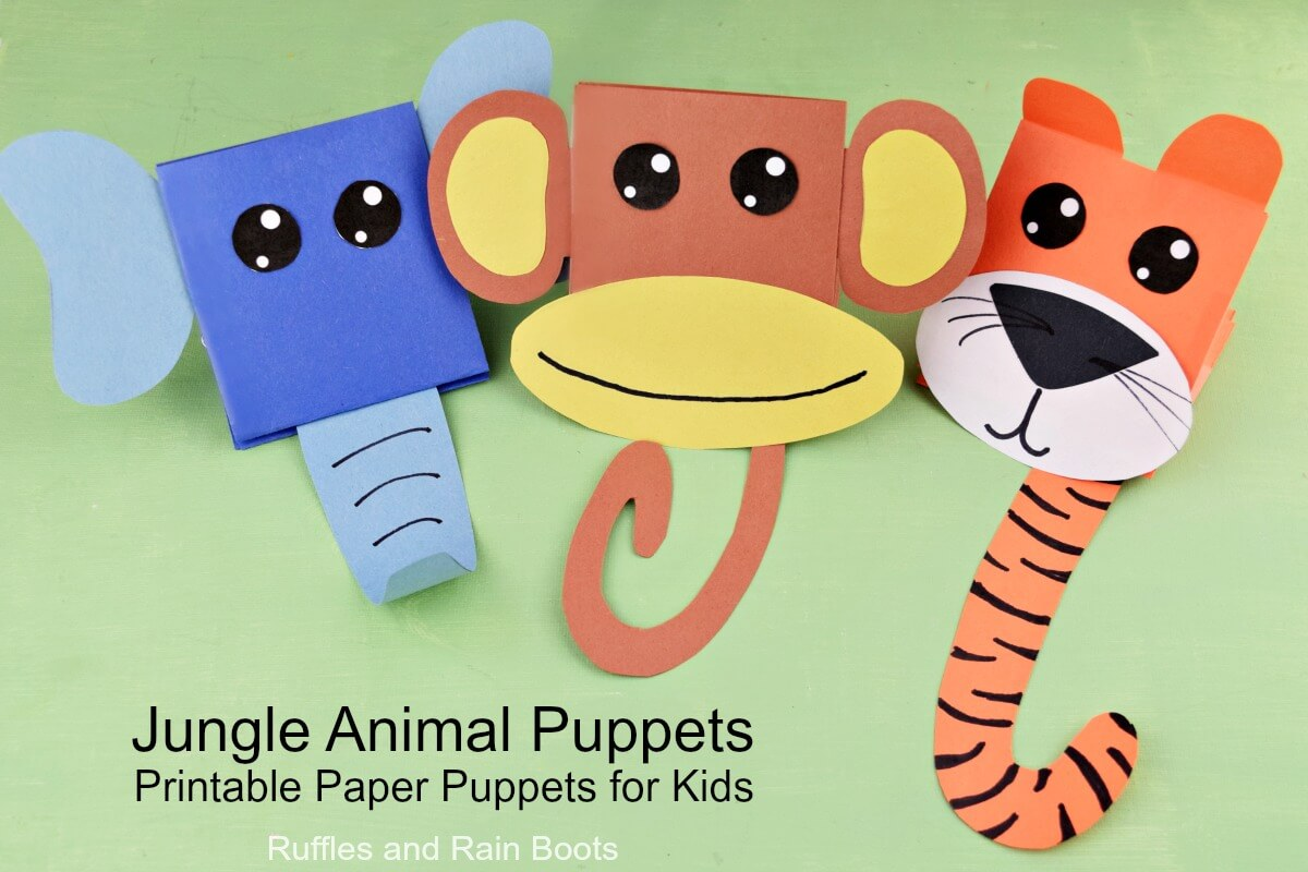 Easy Printable Puppets for Kids Monkey Puppet Tiger Puppet Elephant Puppet from Paper