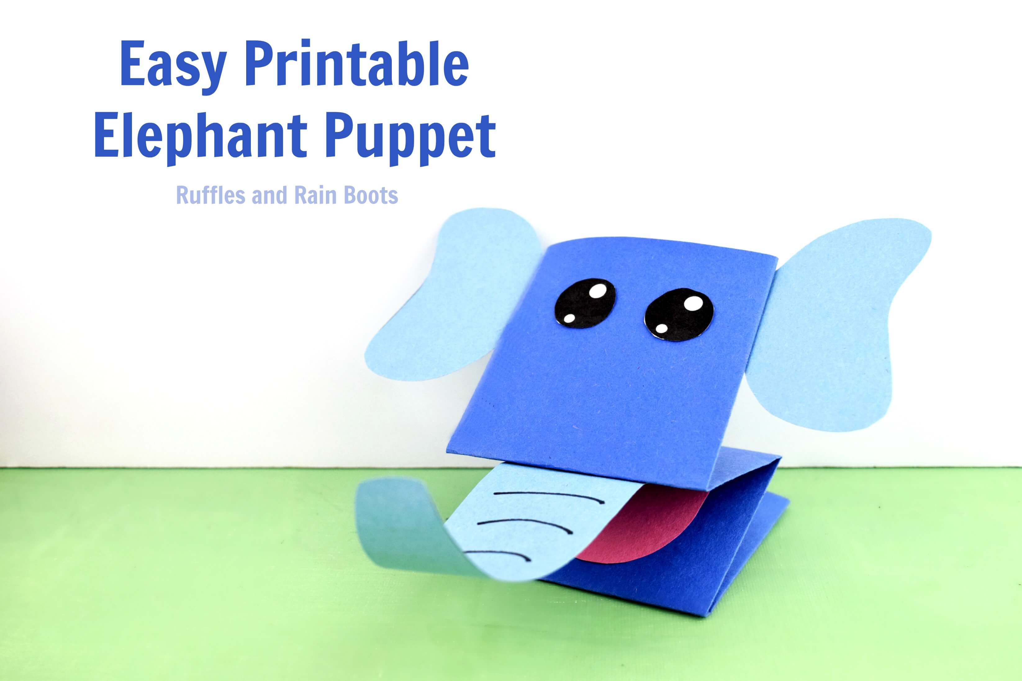 Easy Printable Paper Puppets for Kids Elephant