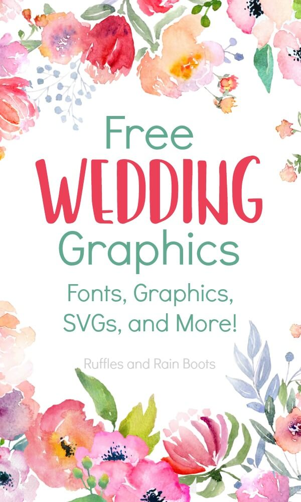 This collection of free wedding clipart, SVGs, cut files, and fonts will help you plan any wedding. From bride and grooms to save the date script writing, start here! #wedding #freesvg #freecutfiles #freeclipart #freewedding #cricut #silhouette #rufflesandrainboots