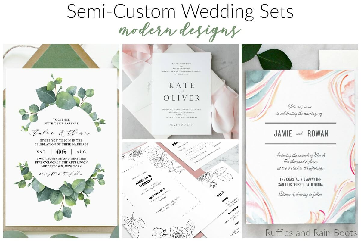 modern wedding geometry succulents simple watercolor eucalpytus