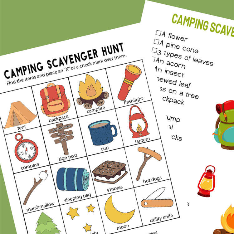 Camping Scavenger Hunt – Printables for Two Age Groups!