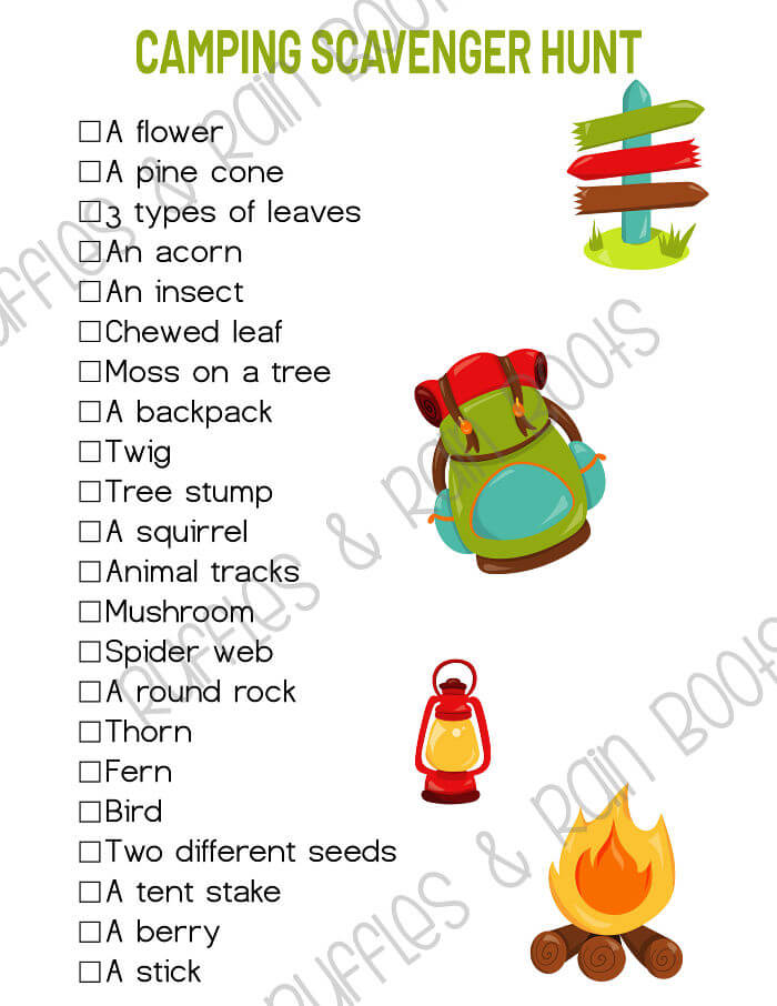 Early Reader camping scavenger hunt printable