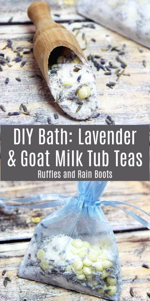 These lavender and goat milk tub teas are absolutely amazing! If you need a quick gift idea or a relaxing pampering session, these are the thing. #diybath #bathtea #tubteas #bathrecipes #lavender #goatmilk #rufflesandrainboots