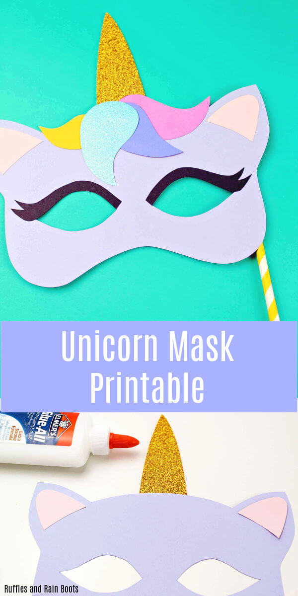 Download this free printable for a unicorn mask template. You'll be the life of the party! #unicorncraft #unicorns #mask #templates #printable #rufflesandrainboots