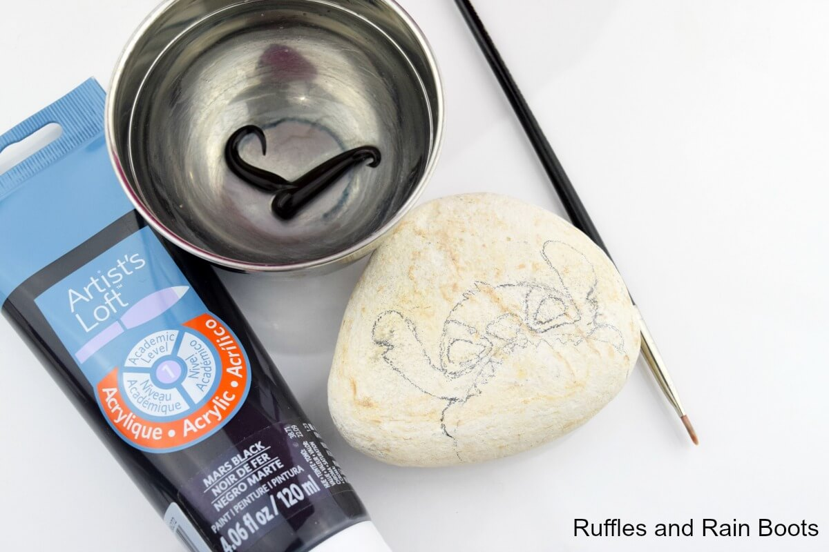 rock painting ideas for Disney stitch