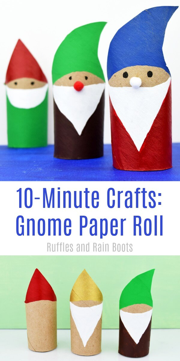 This adorable gnome paper roll craft takes about 10 minutes and the kids will love it! Whether it's for a garden craft, movie night craft, or Christmas, this is a fun time! #gnome #tomte #quickcrafts #kidcrafts #craftsforkids #gardengnomes #gnomeoandjuliet #sherlockgnomes #gnomecraft #gnomeDIY #paperrollcrafts #toiletpaperroll #rufflesandrainboots