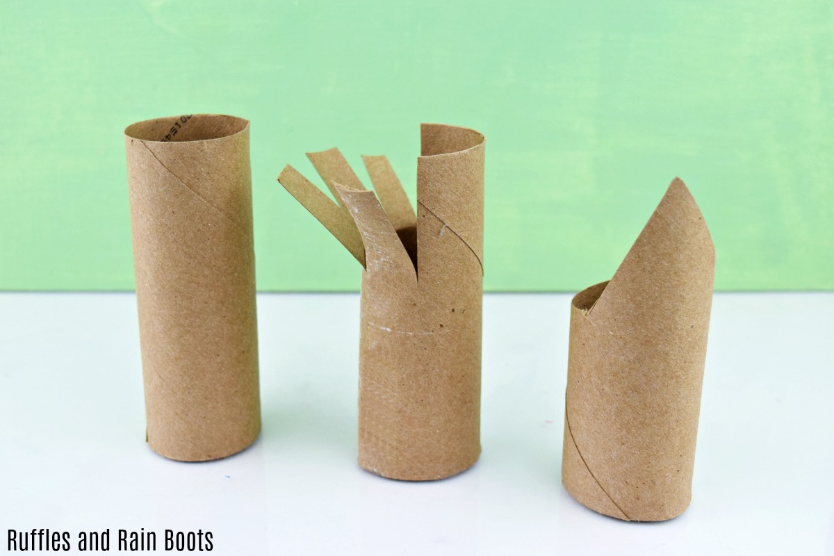 how to cut the toilet paper roll to make a christmas gnome or wise men craft for kids
