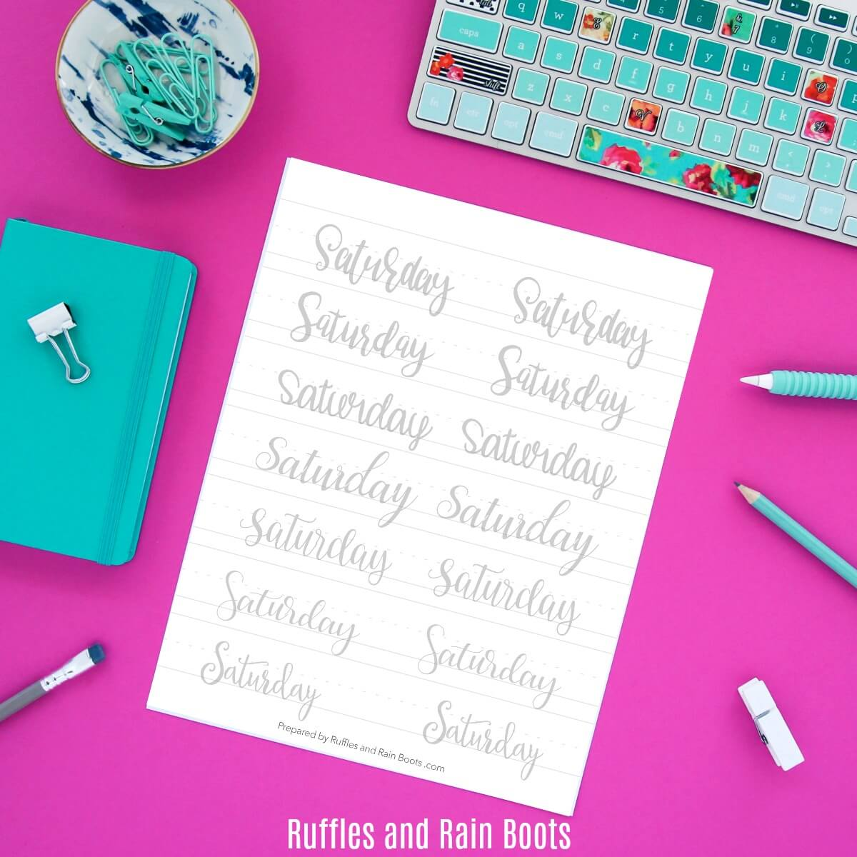 Days of the Week Hand Lettering Practice Sheets Free Printable by Ruffles and Rain Boots