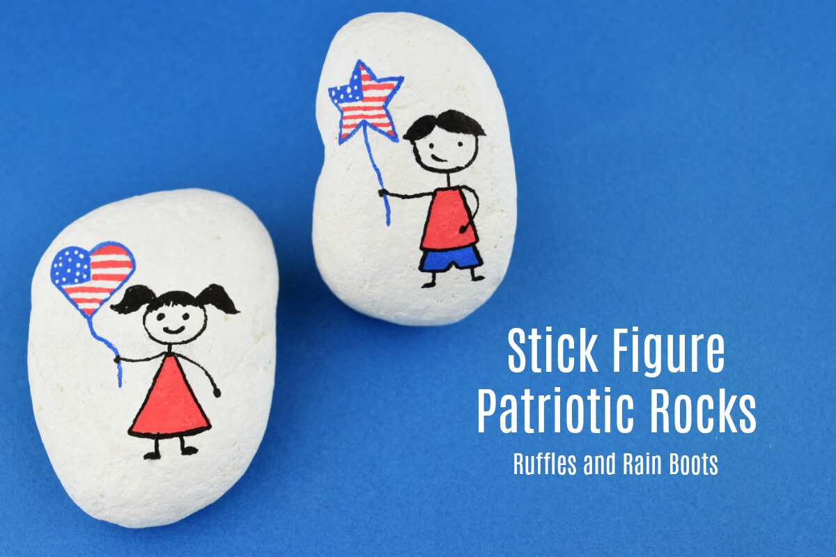 Paint this patriotic stick figure rock set quickly. It is made with simple shapes and comes together fast.