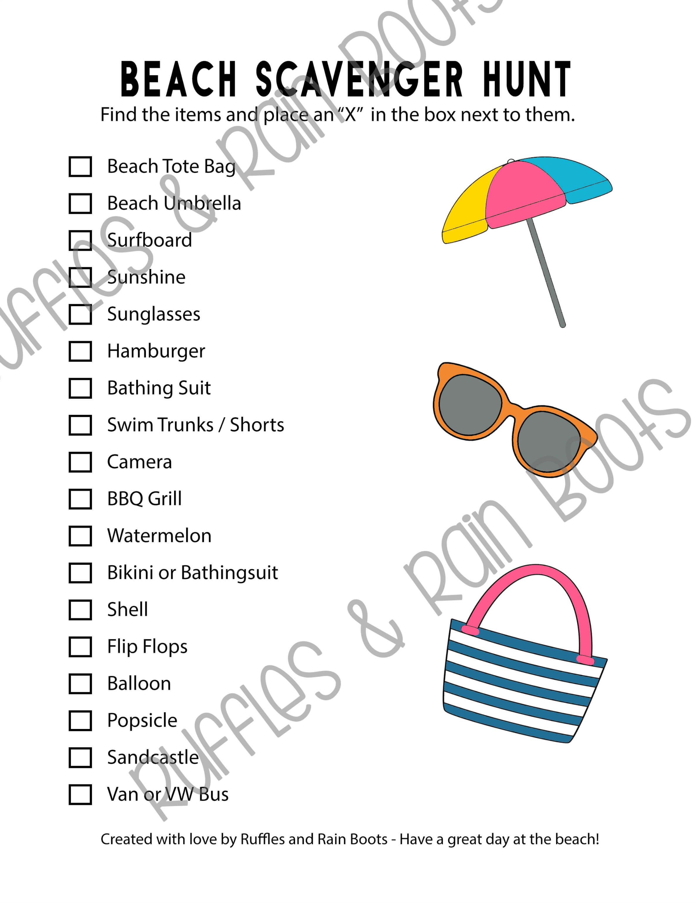 Printable beach scavenger hunt set for readers and early readers