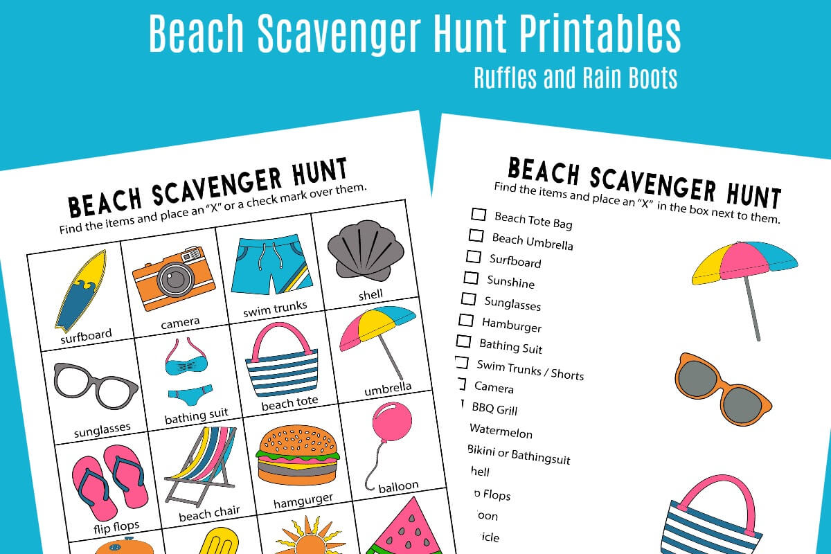 Beach Scavenger Hunt Printable for Preschoolers and Early Readers
