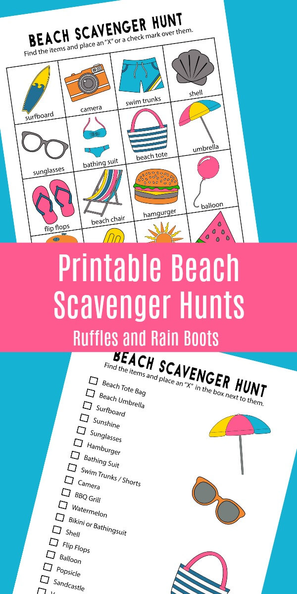 Print off these fun beach scavenger hunts for your next trip! The set includes 2 hunts for older and younger kids and a coloring page. #scavengerhunt #beach #beachvacation #beachcrafts #craftsforkids #printable #rufflesandrainboots