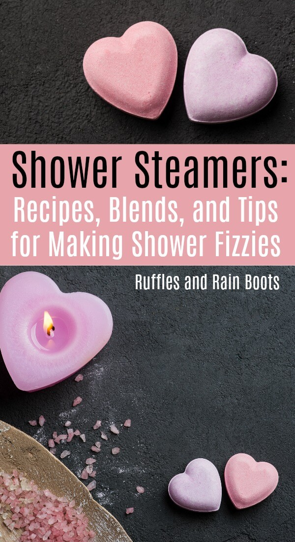 Get the best recipes, blends, and tips for making shower steamers versus bath bombs. They aren't the same. #showersteamers #showerfizzy #bathbombs #diybeauty #diybath #diygifts #spaset #diybathbombs #rufflesnadrainboots