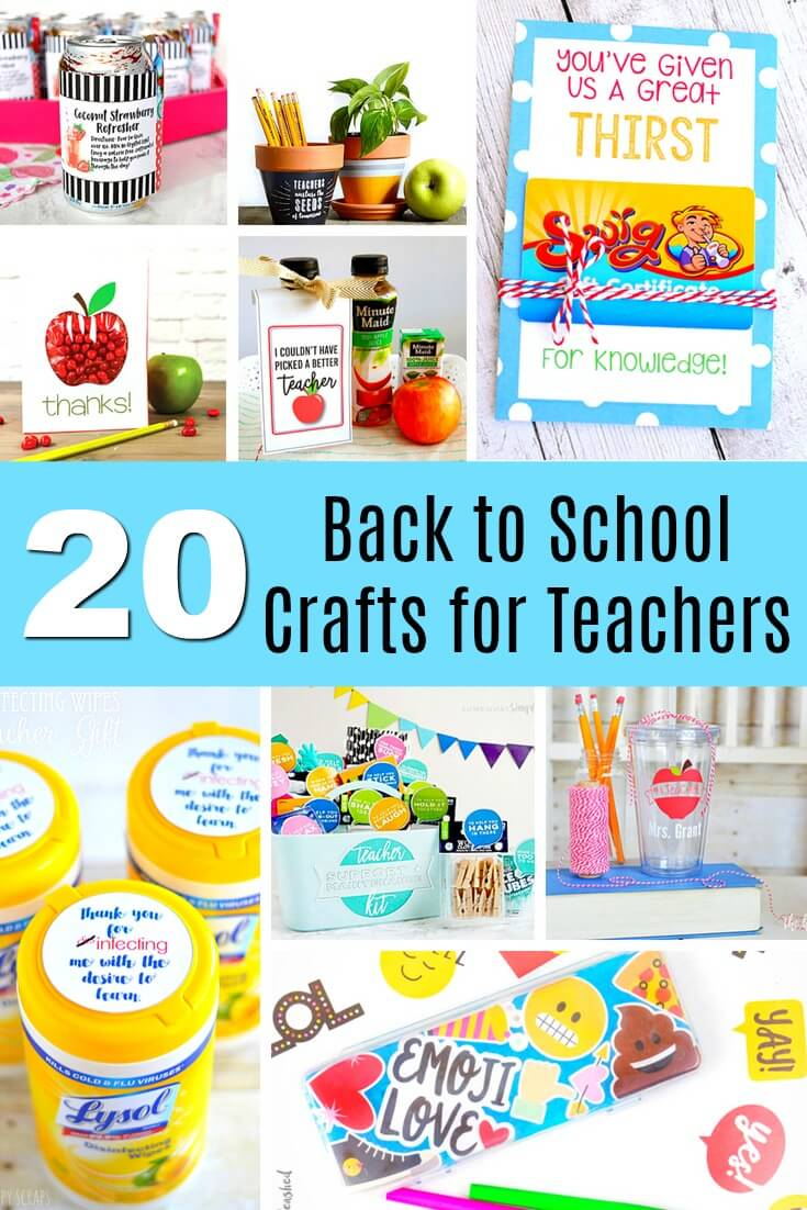 These back to school crafts for teacher appreciation will bring smiles to all! From quick and easy to creative and crafty, click through to see all 20. #backtoschool #backtoschoolcrafts #teacher #teacherappreciation #teachers #teacherappreciationweek #rufflesandrainboots