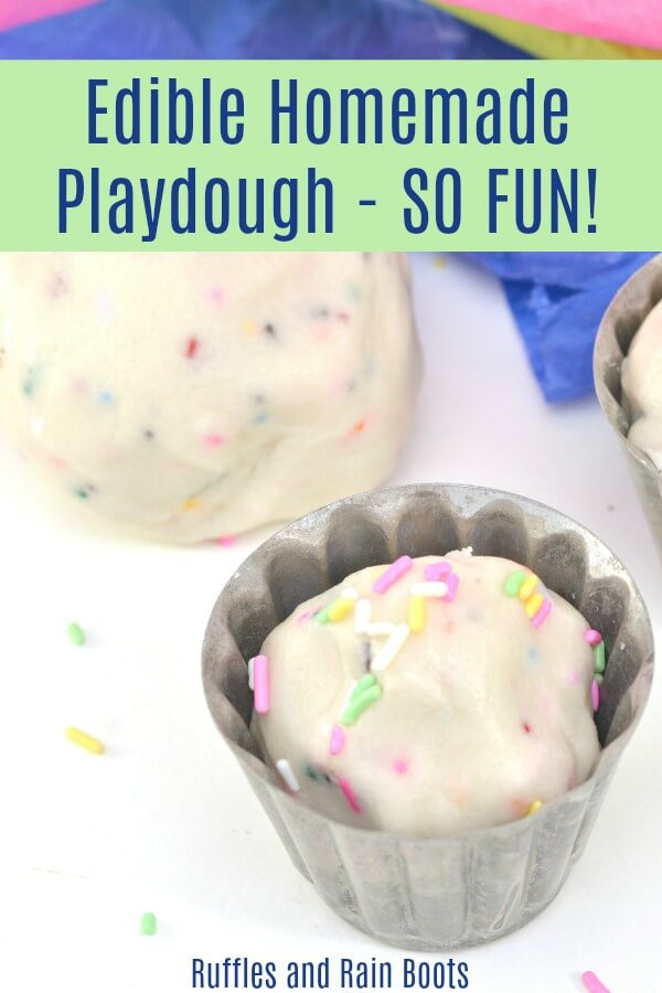 This homemade edible play dough uses the easiest shortcut EVER to make play doh safe for anyone. Make a sensory experience for all kids using this fun, sweet-smelling recipe. #pinitforlater #playdough #playdoh #diysensory #sensoryactivities #sensorycrafts #easykidactivities #rufflesandrainboots