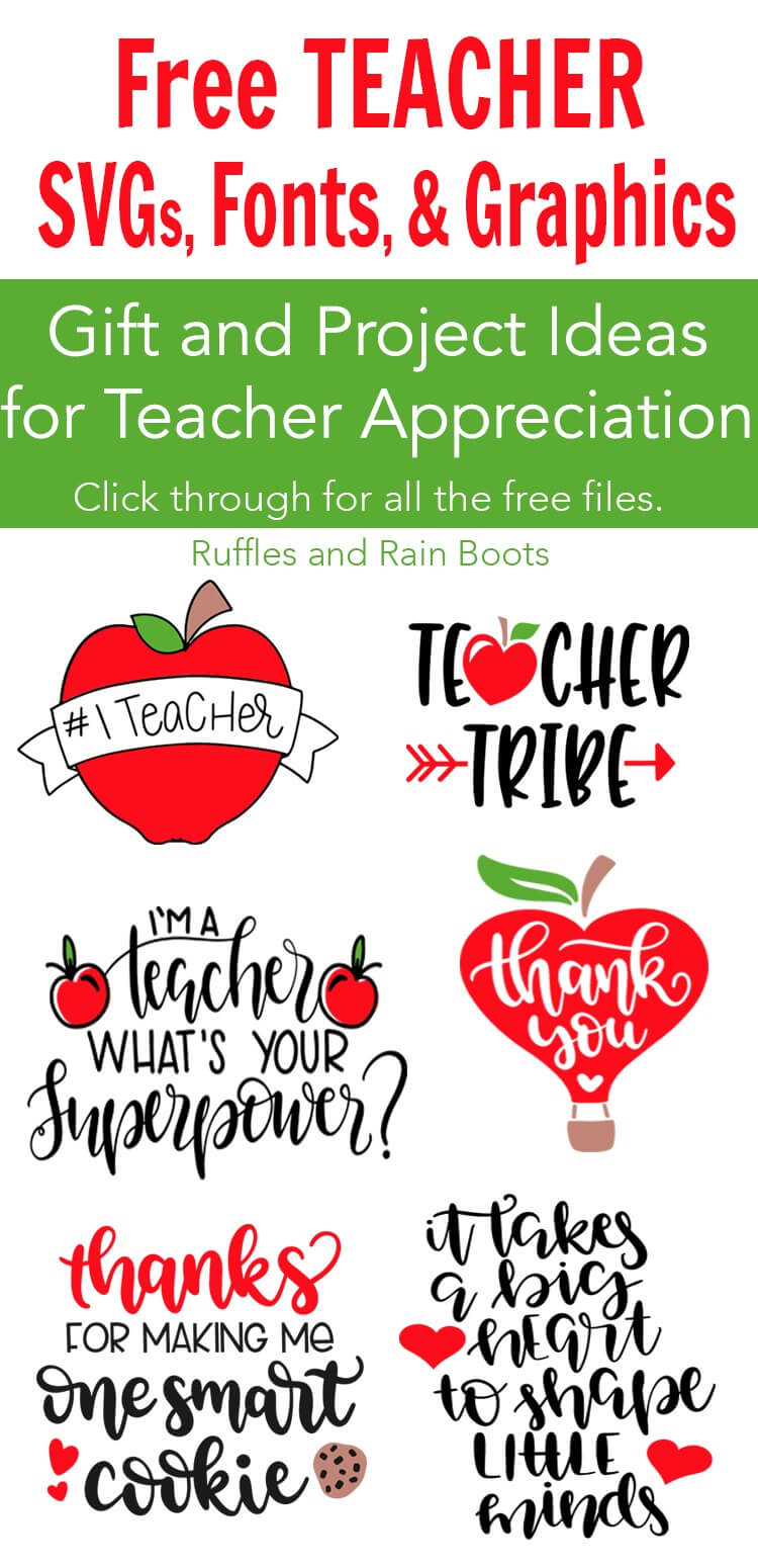 These free teacher SVG files and graphics are going to take teacher appreciation week and back to school gifts to a whole new level. #teacher #teacherappreciation #freesvg #freecutfiles #cricut #silhouette #digitalcrafts #digitalcrafting #rufflesandrainboots