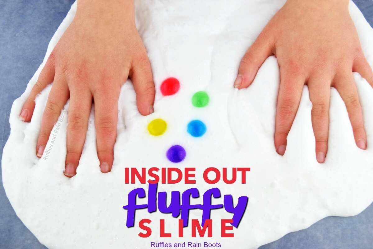 inside out movie night fluffy slime recipe with water beads