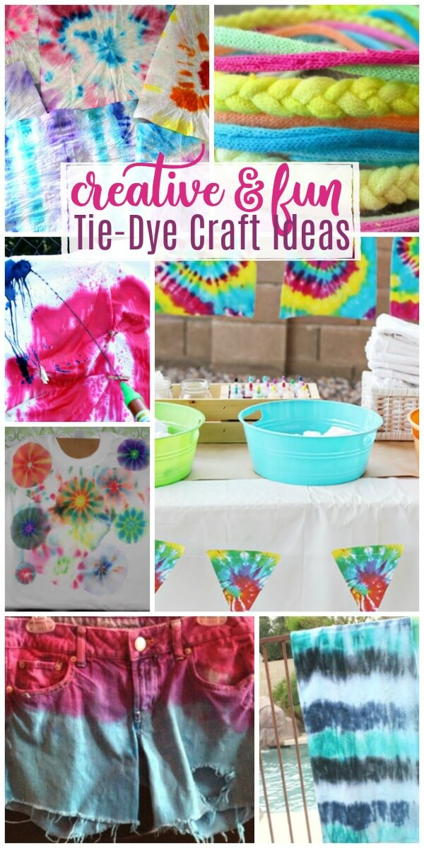 These tie-dye craft ideas for colorful fun will brighten anyone's day. We're sharing crafts for kids, teens, clothing, parties, and so much more. #pinitforlater #tiedye #tiedyecrafts #tiedyeprojects #tiedyeideas #tiedyetutorials #tiedyetechniques #rufflesandrainboots