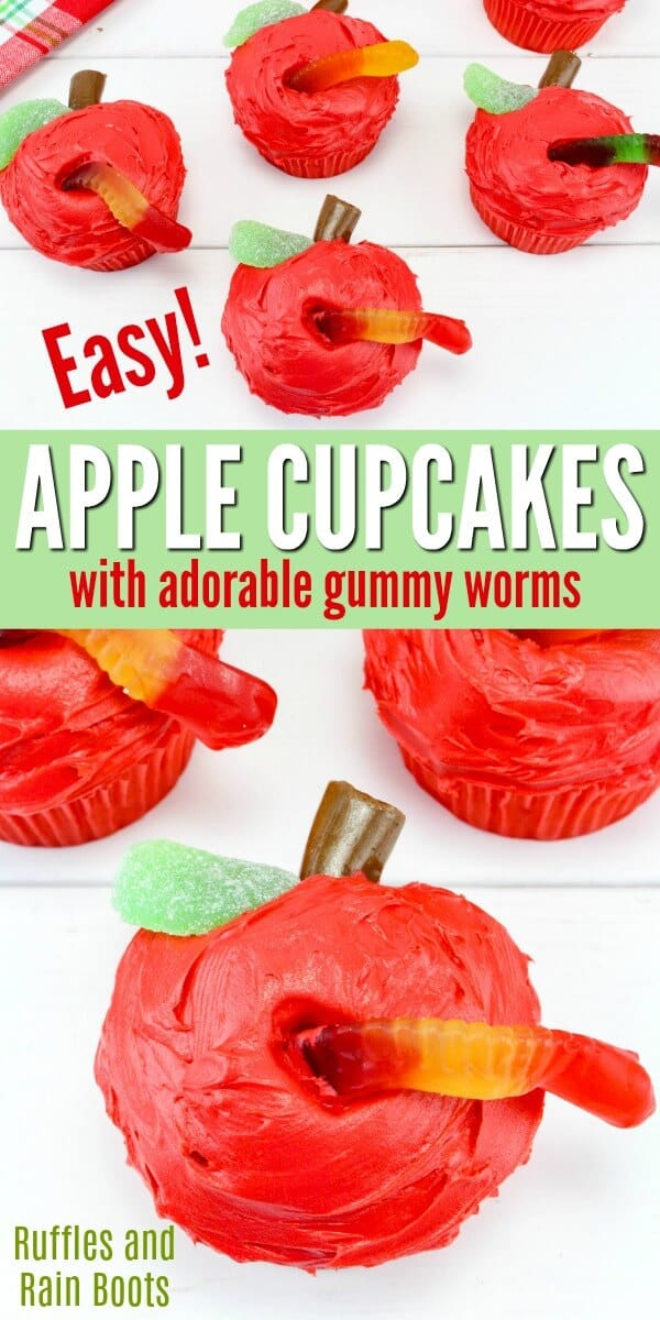 These apple cupcakes are sure to please for back to school or teacher appreciation. So cute and SO easy to make, they will make a statement! #backtoschool #teacher #teacherappreciation #applecupcakes #applegifts #foodgifts #cupcakes #cupcakerecipes #cupcakedecorating #allthingsfall #rufflesandrainboots