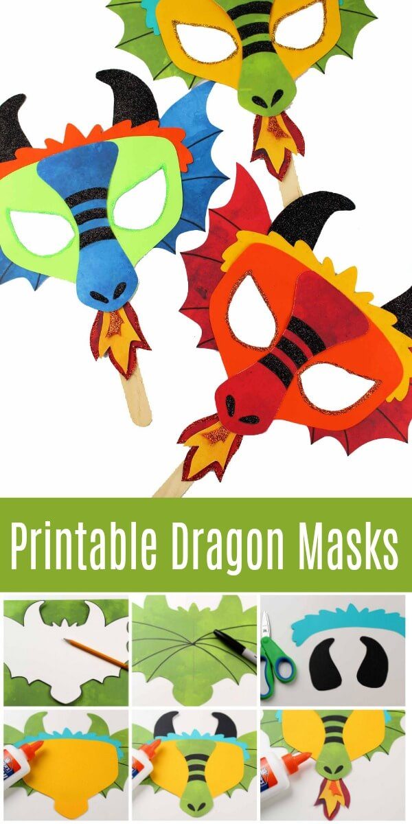 Printable Dragon Mask Coloring Page And Template Ruffles And Rain Boots