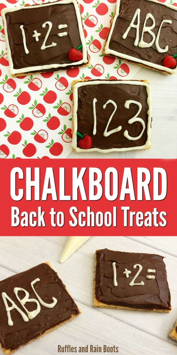Make these adorable chalkboard graham crackers for a back to school treat, a teacher appreciation gift, or even to bring to the PTA meetings! It's a great kids in the kitchen activity. #backtoschool #schooltreats #easydessert #dessertrecipes #dessert #grahamcrackers #chalkboard #teachergifts #giftsforteacher #diybacktoschool #rufflesandrainboots