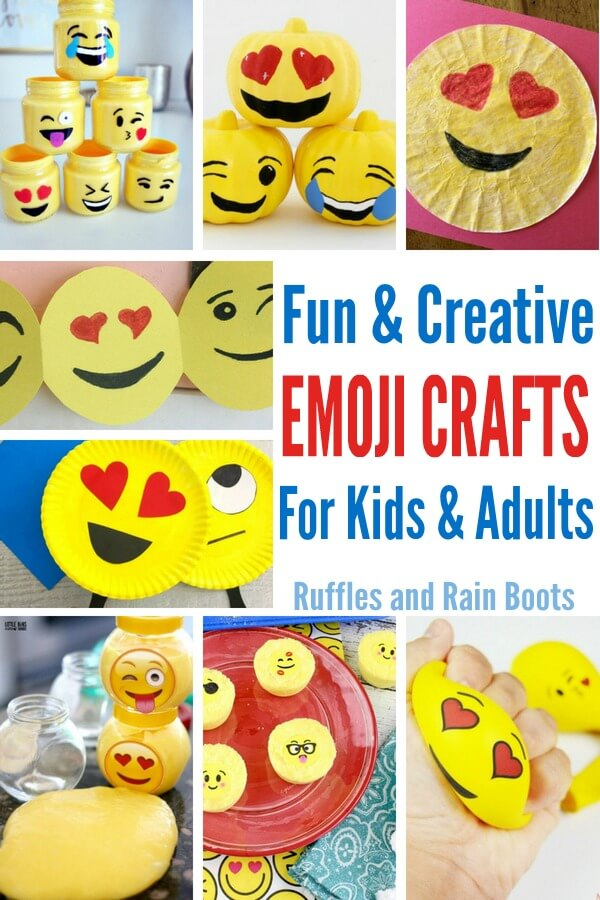 These fun emoji crafts are a perfect addition to any family movie night or rainy day crafting session. Most are easy to set up and they will ALL bring the smiles. #emoji #emojicrafts #craftsforkids #kidscrafts #kidcrafts #emojimovie #theemojimovie #familymovienight #familycrafts #rufflesandrainboots