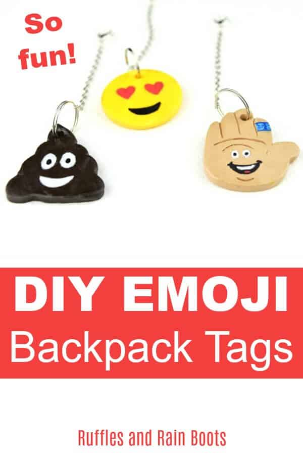These DIY emoji backpack tags are fun to make and show off. This is a great back to school craft for kids to dress up their new accessories. #backpacktags #backpack #accessories #polymerclay #claytutorials #emojicrafts #craftsforkids #backtoschool #backtoschoolcrafts #rufflesandrainboots
