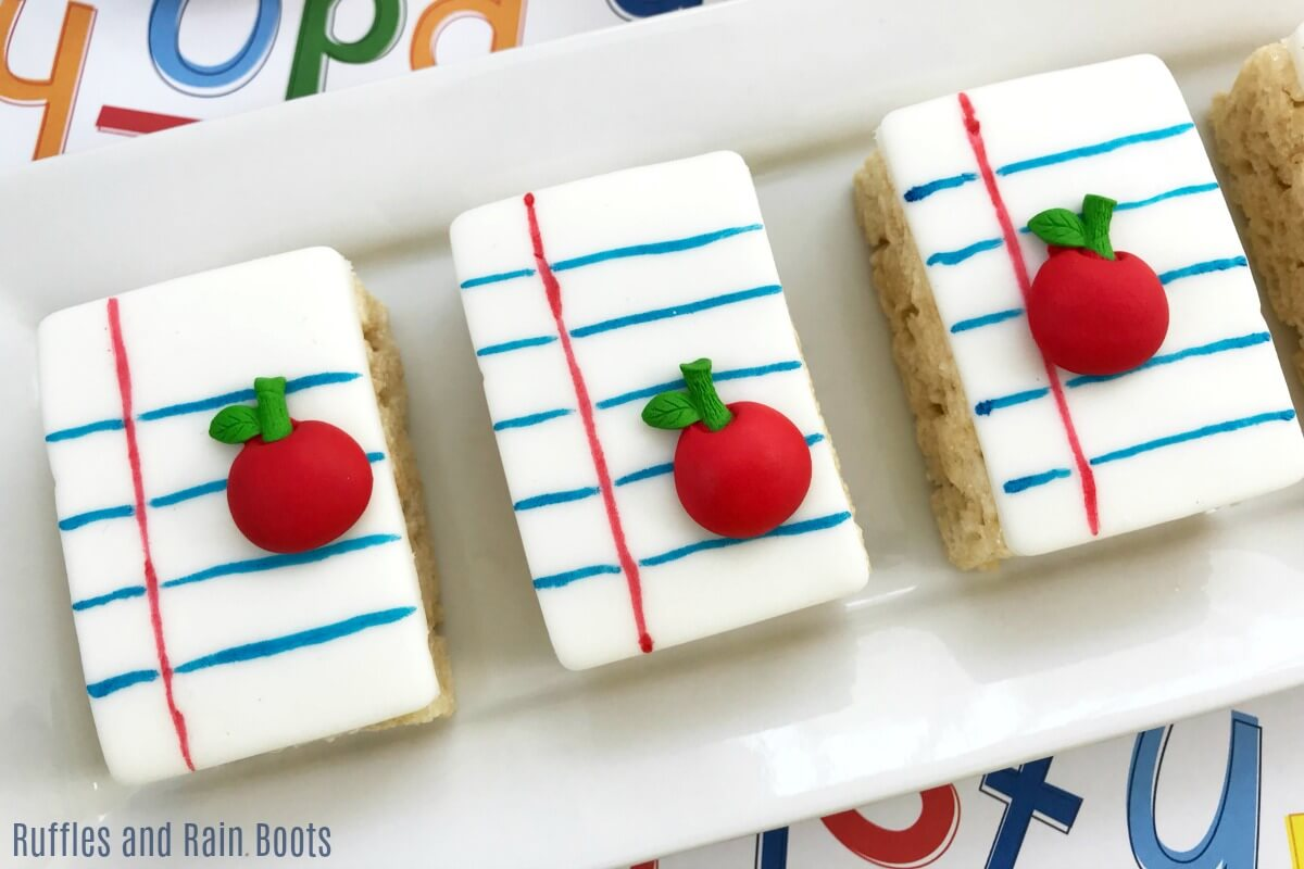 Notebook paper Rice Krispies Treats for Back to School