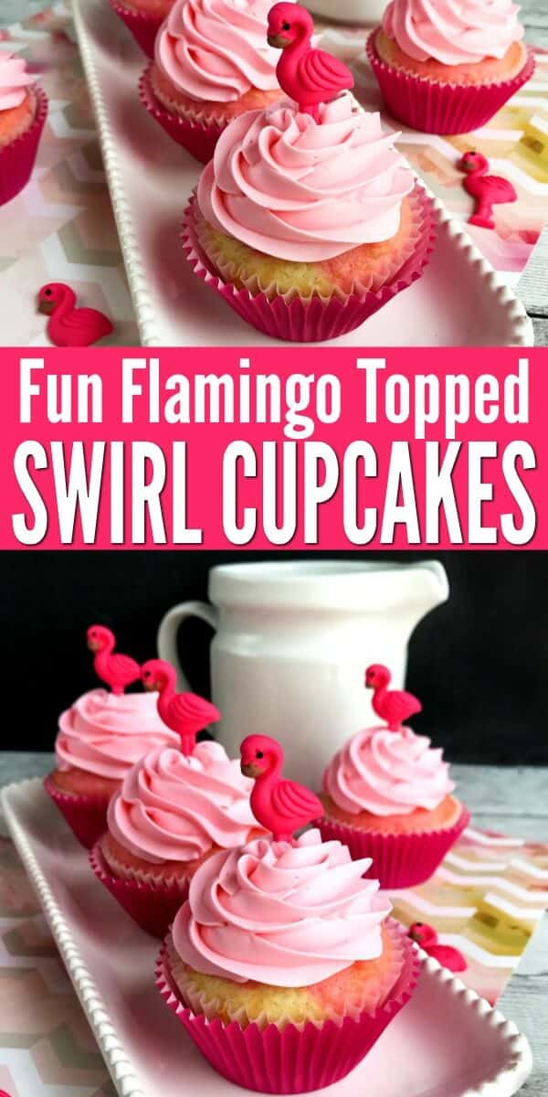 These fun and homemade flamingo cupcakes with pink and white swirl batter will bring the smiles to any tropical party or luau. #flamingo #flamingos #luauideas #cupcakerecipes #homemadecupcake #luaufood #luauparty #tropicalfood #tropicalparty #partyideas #rufflesandrainboots